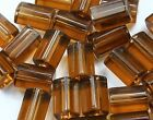 12 Smoky Topaz Czech Atlas Tube Glass Beads 12x8mm