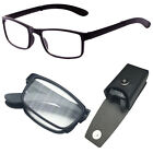 Compact Folding Reading Glasses Foldable Reader Snap HARD CASE INCLUDED 1.00-3.0