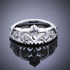 Women 925 Silver Plated princess Crown Band Solid Ring Jewelry  Good Quality US