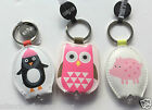 Little Wishes Key Light Mini Torch Keyring Faux Leather Pig Owl Penguin