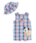 Romper Baby Boy Clothes Infant Plaid Shortall Overall Bodysuit Hat Size 3M 9M 24