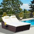 Outdoor Rattan Wicker Chaise Lounge 2-Person Daybed Patio Furniture w/Side Tray