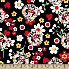 Disney MINNIE MOUSE floral toss on black : 100% cotton fabric by the 1/2 metre
