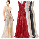 Glitter Sequins Bridesmaid Wedding Evening Prom Gown Cocktail Party Long Dress.