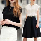 Girl's Round collar Summer Casual Chiffon T-Shirt Blouses White Black Color