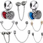 New Silver Charms Love Heart Safety Chain Fit European 925 Silver Bracelet 812US