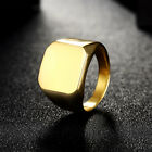 New Solid Polished Square Signet Stainless Steel Band Biker Men's Ring 7-10 UK