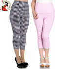 HELL BUNNY 50s JUDY CAPRIS cropped GINGHAM check TROUSERS pedal pushers