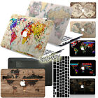 World Map Painting Hard Rubberized Case Cover For Macbook Pro Air 11 13 15 12+KB