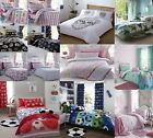 RETRO 2 IN 1 REVERSIBLE DUVET COVER SETS CHILDREN BOYS GIRLS BEDDING BLACK PINK
