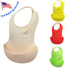 Baby Bibs Waterproof Food Catcher Silicone Bucket with Adjustable Neckband