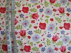 Meadow Sweet Red and Blue Flowers on White 100% cotton Fabric from Penny Rose