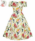 LADY VINTAGE 50s LILIANA HUMMINGBIRD floral OFF THE SHOULDER DRESS CREAM