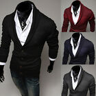 Fashion V Neck Mens Slim Fit Knitwear Pullover Cardigan Sweater Jacket Coat Tops