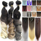 100% Real Natural Full Head Clip in Hair Extensions 18clips on Straight Wavy T9q