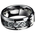 Men's Rings Stainless Steel Brushed Titanium Onyx Signet Wedding Band Thumb Ring