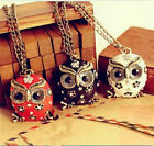 Fashion women red/white/black charm owl pendant necklace long sweater chain hot