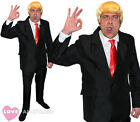 MENS PRESIDENT COSTUME BLACK SUIT WIG AND RED TIE AMERICAN USA FANCY DRESS