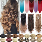 Extra Thick Real Hair Extensions Full Head Clip In As Human Double Weft 8Pcs FR1