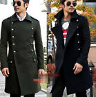 Men Military Double Breasted Retro Wool Blend Fit Coats Jackets Overcoat Outdoor