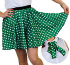 POLKA DOT SKIRT & SCARF GREEN WITH WHITE DOTS ROCK N ROLL FANCY DRESS COSTUME