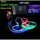 LED Light-up MICRO USB Data Sync Charger Power Charge Cable For iphone Samsung