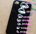 36P Pointed foiled back crystal clear Faceted Glass Teardrop rhinestones Jewels