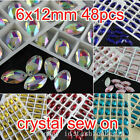 48p 6x12mm sew on silver flatback navette glass crystal rhinestones beads 2Hole