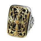 Gerochristo 2606 ~ Solid Gold & Sterling Silver Medieval Large Cross Ring
