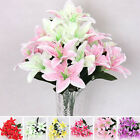 New Silk Flower Artificial Lilies Bouquet 10 Heads Home Wedding Floral Decor w2