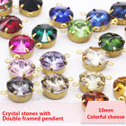20pcs 10mm Round color Crystal rhinestones pendants  Link Connector Charms Beads