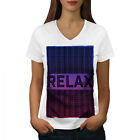 Wellcoda Relax Quote Chill Womens V-Neck T-shirt, Funny Graphic Design Tee image