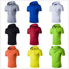 2017 Men's Casual Slim Fit Short Sleeve Hooded Muscle Gym Sport Top T Shirt Tee