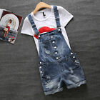 Womens Suspender Broken Hole Jeans Short Pants Denim Overalls Jumpsuits Trousers