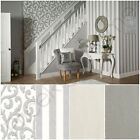 GLITTERATI PLATINUM SILVER WHITE WALLPAPER BY ARTHOUSE - SCROLL, STRIPE, PLAIN