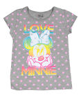 Disney Minnie Mouse Toddler Girls Tee Shirt Top Grey Polka Hearts 2t 3t 4t nwt