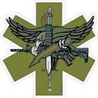 SWAT Tactical Star of Life OD Green Reflective Decal Sticker Paramedic EMS EMT