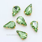20p 5x8mm teardrop glass sew on flatback rhinestones Diamante gold plate buttons