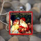 """VINTAGE SANTA CLAUS"" CHRISTMAS ST NICK ANGEL WINTER SNOW GLASS PENDANT NECKLACE"