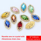 12p 9x18mm navette sewing On faceted glass Jewels crystal rhinestones trim Beads