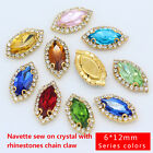 12p 6x12mm color Horse eye sewing On crystal rhinestone trim Costume Dress stone