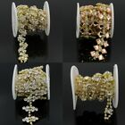 1 Yd Gold Rhinestone Chain Applique Trim Craft DIY Wedding Supplies Costume Belt