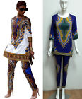 2pcs Women Blouse Tops Pants Shirt Trousers African Print Straight Party Dress