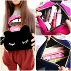 Portable Cartoon Cat Make Up Pouch Coin Storage Case Cosmetic Flannel Bag Ornate