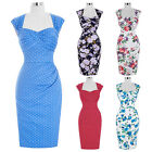 UK Womens Vintage 1950'S Retro Evening Cocktail Party Skater Swing Bodycon Dress
