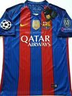 2016 2017 FC BARCELONA CHAMPIONS LEAGUE MESSI NEYMAR STADIUM HOME JERSEY 16 17