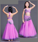 KID's 2pcs set Top+Long Skirt with rhinestones Performance Belly Dance Costumes