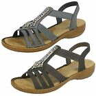 Ladies Rieker 608S1 Synthetic Slip On Smart Casual Sandals