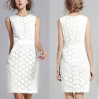 Womens Plus Size Elegant Lace Sleeveless Bodycon Long Evening Midi Dresses WHITE