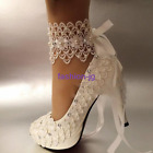 "3"" 4 "" heel white ivory lace ribbon ankle pearls Wedding shoes bride size 3-7"